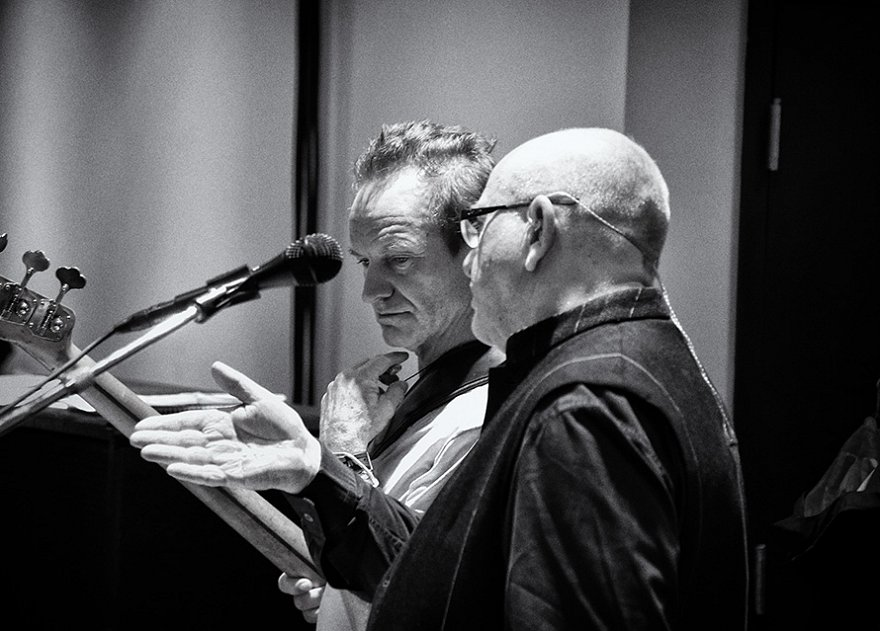 Sting and Peter Gabriel at rehearsal